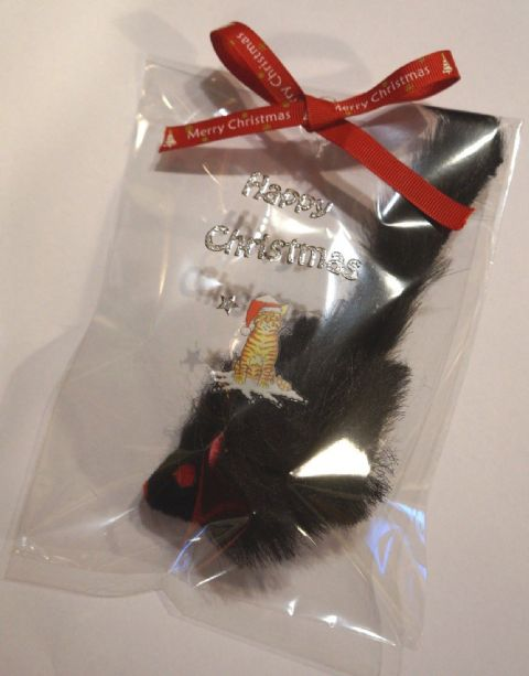 CHRISTMAS CAT TOY LARGE FURRY BLACK RATTLE MOUSE IN HAND DECORATED XMAS PACK